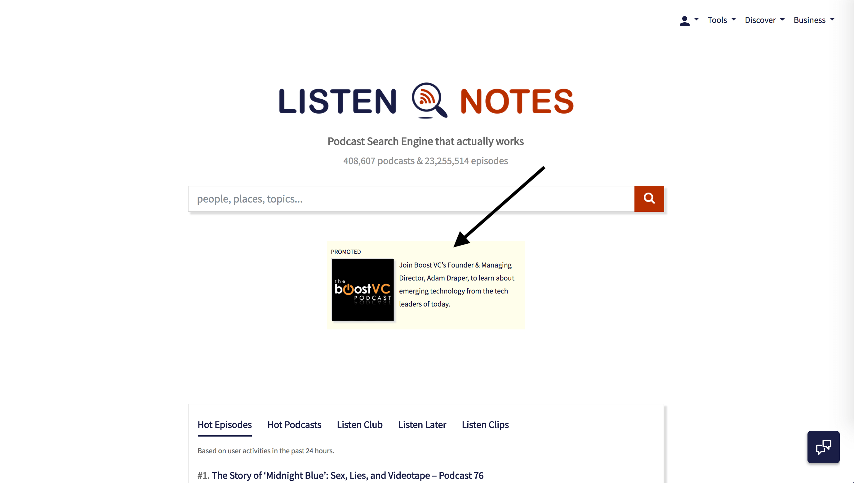 Listen Notes Homepage Banner Ads