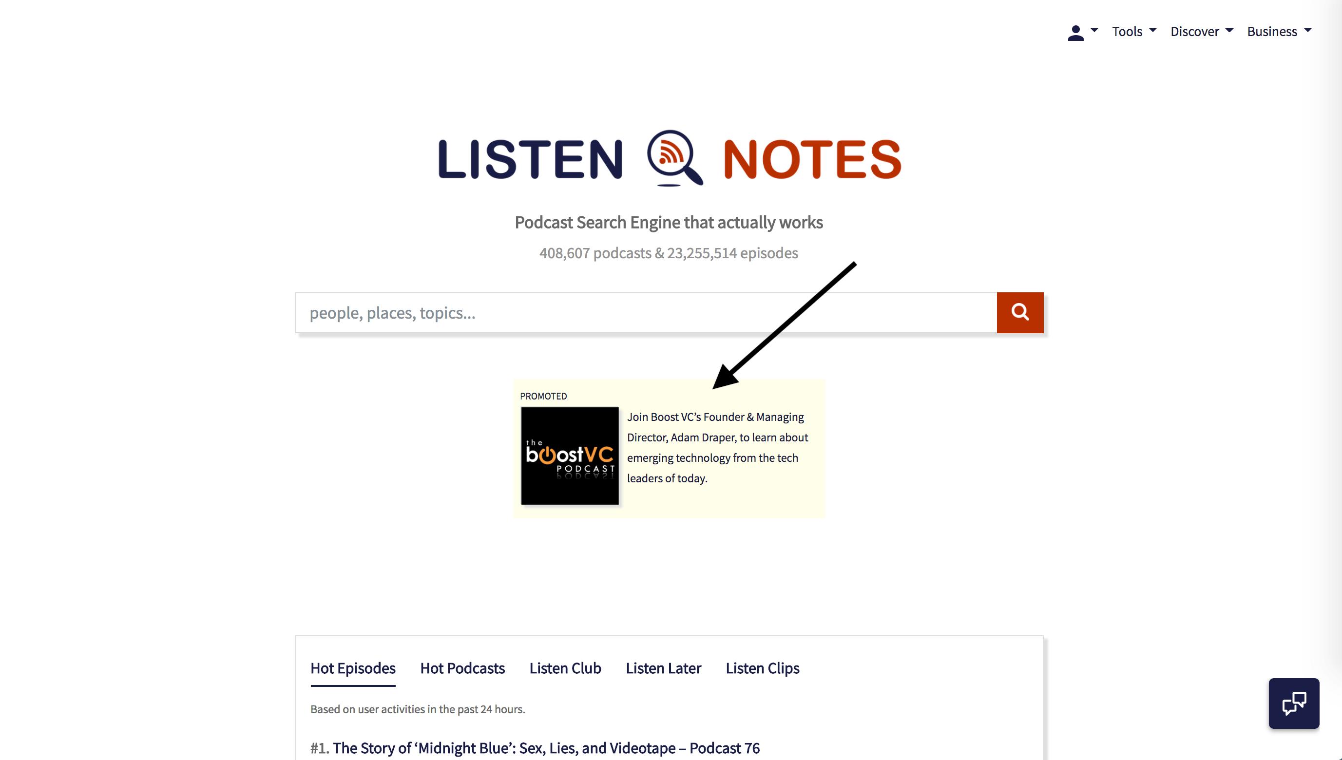 Listen Notes Homepage Banner Ads